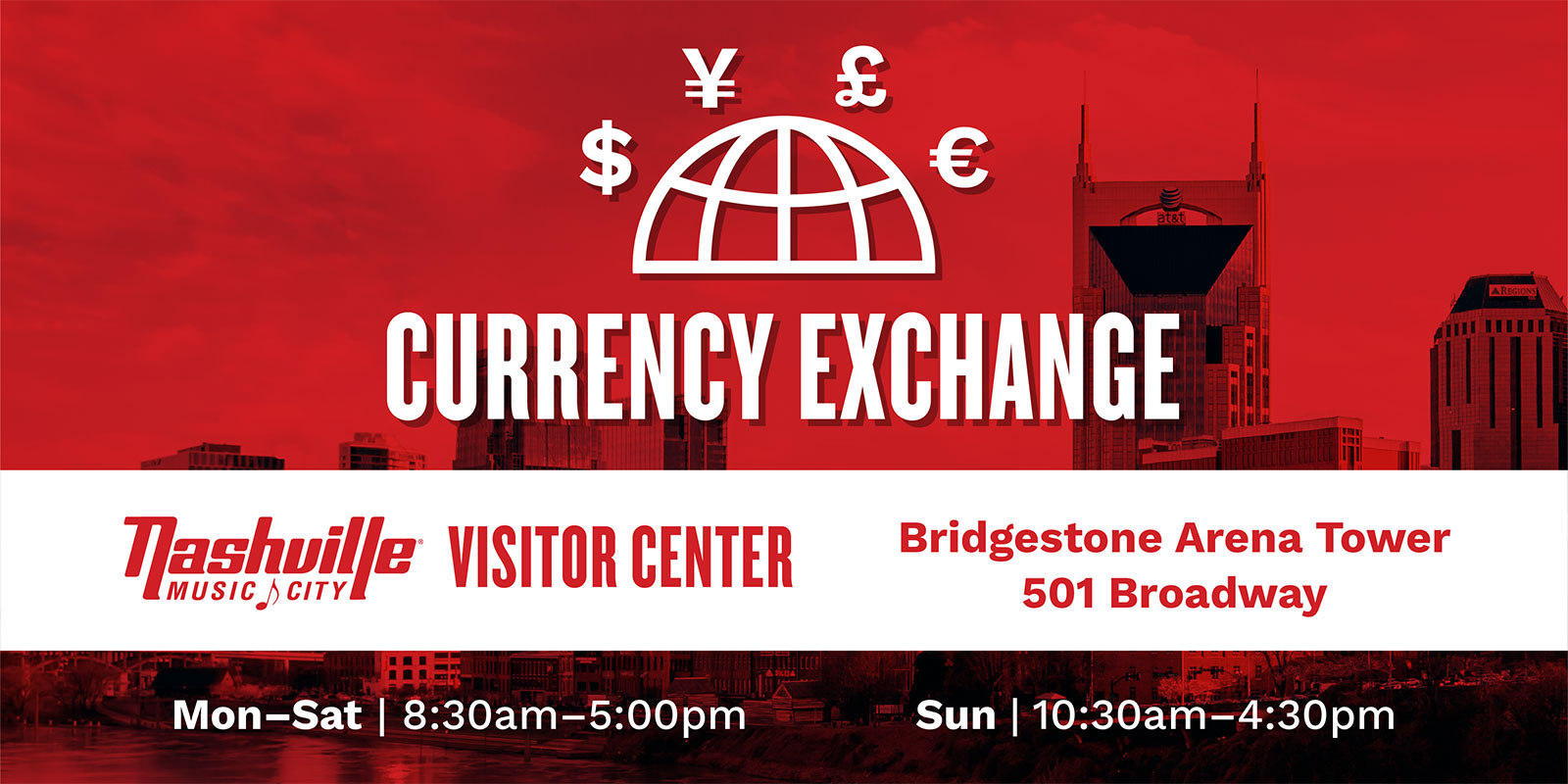 Currency Exchange at the Nashville Visitor Center